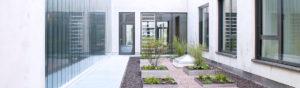 Streng gestaltete Beete in einem modernen Innenhof